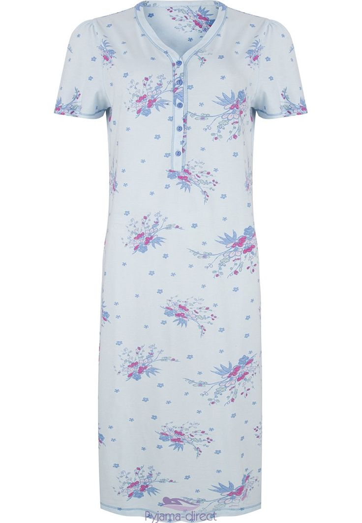 "Be comfortable & relaxed in this Pastunette classic ""floral dream"" pale blue, short sleeved ladies cotton nightdress"