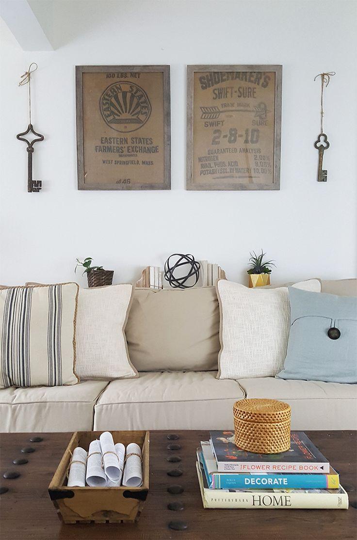 DIY Wall Decor Ideas - Framed Burlap | Upcycling | Upcycled | Rustic Decor | Farmhouse