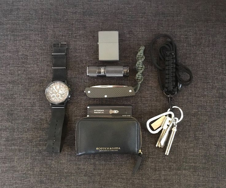 shades of grey EDC  submitted by ando  Citizen Promaster Sky Black AS-4025-08E on Zuludiver Nato Strap  Zippo solid Titanium (w/ jetflame insert)  NiteCore SmartPD EX10 R2 SP (Smart Piston)  Böker Plus Tech Tool Carbon 1 (12C27) on home made DNA-Helix Paracord lanyard  Victorinox Swiss Card Lite black  Scotch & Soda leather Wallet  Paracord Lanyard black  Keys se comment for details