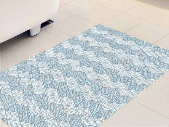 Floor Tile Decals Set Of 15 With Blue Geometric Pattern Vinyl Stickers Tile Stickers Vinyl Decal B Tile Decals Tile Floor Flooring