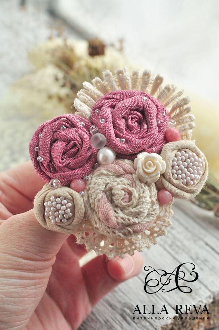"""Купить Брошь """"Розовое кружево"""" - комбинированный, розовый, бежевый, брошь, брошь текстиль, текстильная брошь"""