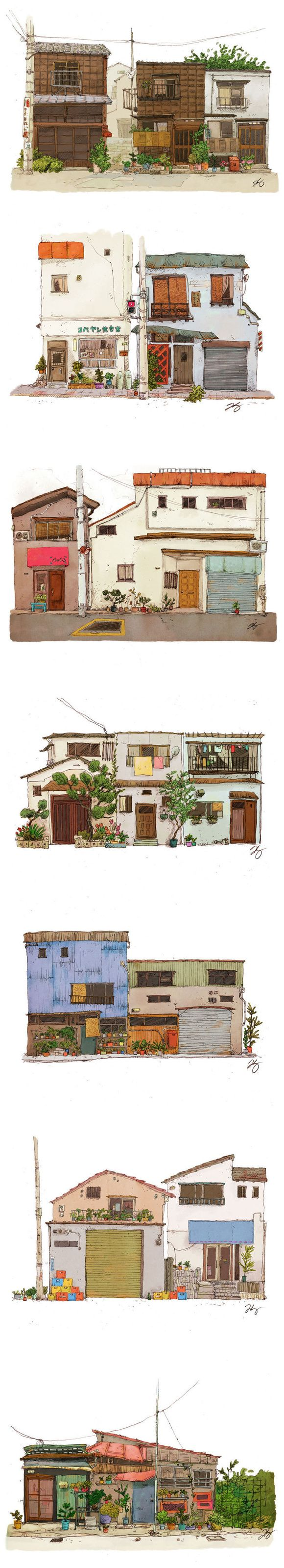 家の樣貌 ~ ❤️                                  gorgeous house illustrations