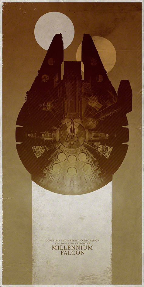 The Millennium Falcon Over the Tatooine Twin Suns