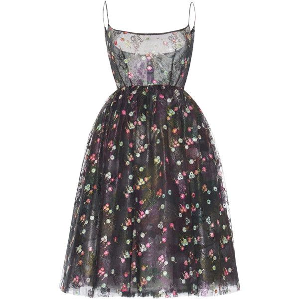 Luisa Beccaria Floral Embroidered Tulle Ballerina Dress (12.510 BRL) ❤ liked on Polyvore featuring dresses, black, spaghetti strap dress, below the knee dresses, ballet dress, ballerina dress and tulle dress
