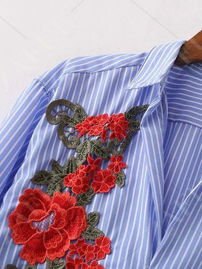 Striped Floral Embroidered Shirt Dress - BLUE S Mobile