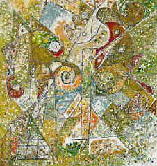 """858/579 - Ejler Bille: """"Komposition med rød dominant"""". Sign. på bagsiden Ejler Bille Ørby 1974. Olie på lærrred. 70 x 66"""