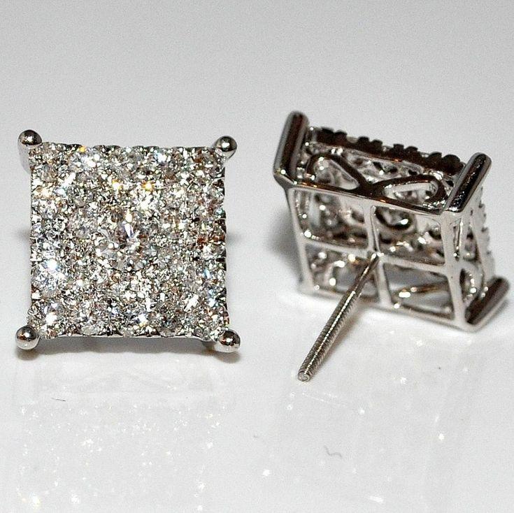 Men's Diamond Stud Earrings Xl Big Square Round Dia Screw Back