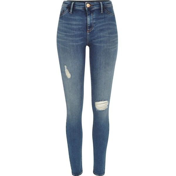 River Island Mid wash distressed Molly jeggings found on Polyvore featuring jeans, pants, bottoms, trousers, jeggings, women and river island