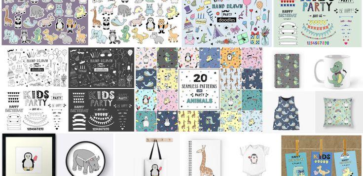 HUGE BUNDLE of hand drawn Kids Party design elements | Master Bundles