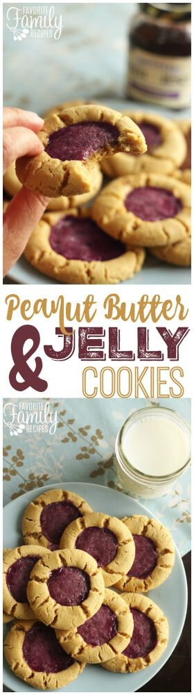 These Peanut Butter and Jelly cookies are the perfect treat for the PB & J lover. A perfectly chewy peanut butter cookie with a little smack of Concord grape in the middle. via @favfamilyrecipz