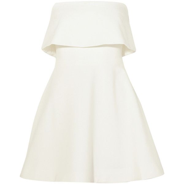 Elizabeth and James Melinda strapless stretch-ponte mini dress (10,760 THB) ❤ liked on Polyvore featuring dresses, short dresses, vestidos, white, a line mini dress, white dress, strapless mini dress and short white dresses