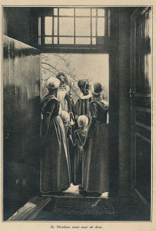 Sinterklaas and Zwarte Piet standing on the porch 1931 | Flickr - Photo Sharing!