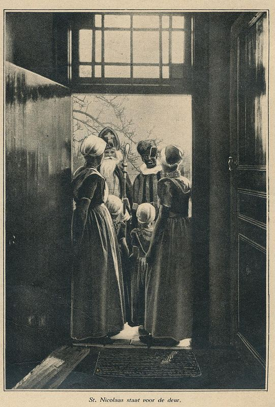 Sinterklaas and Zwarte Piet standing on the porch 1931 | Flickr - Photo Sharing!