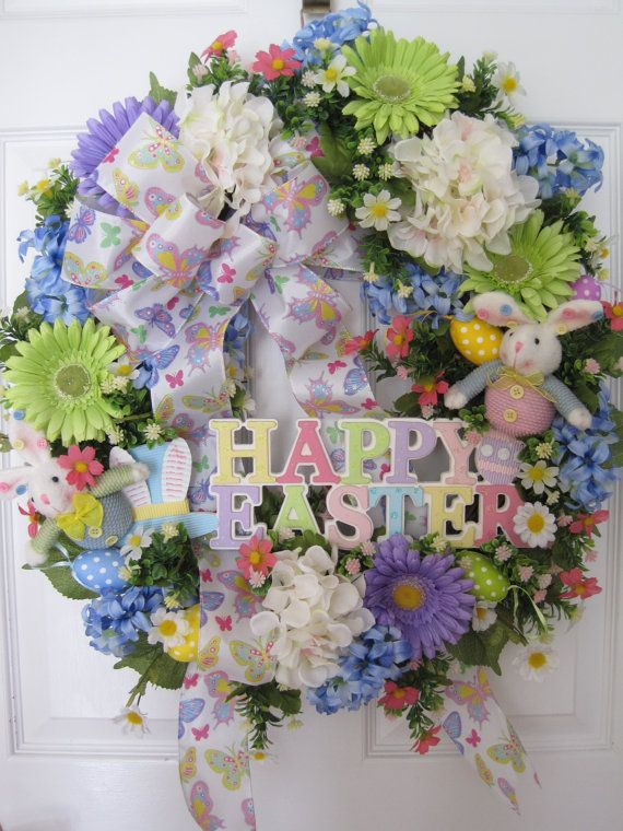 happy easter bunnies flowers-#22