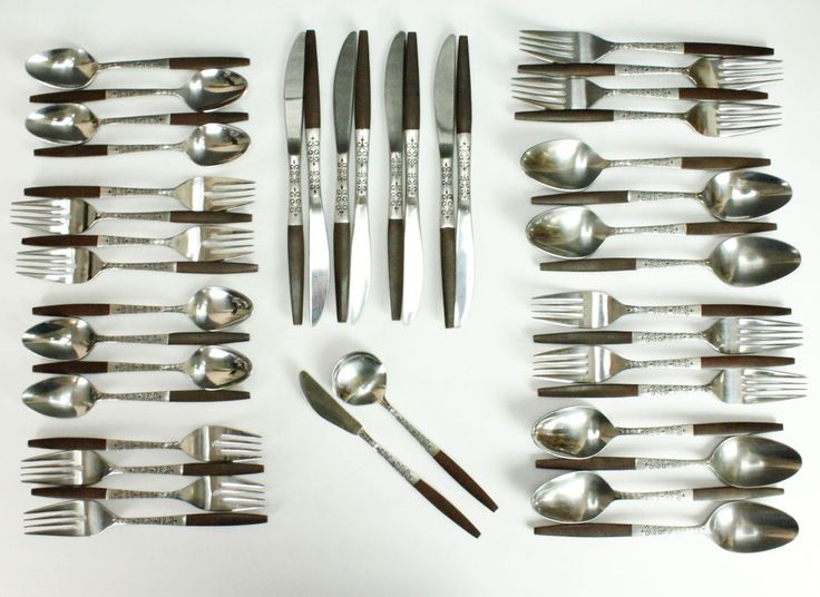 #MidCentury #flatware #INR2 42 PCS #Interpur Stainless Flatware Set Place Setting For 8 #Canoe Muffin #JAPAN
