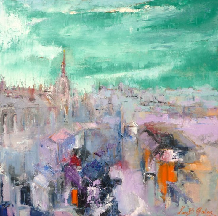 """Milano"" (Milan) oil on canvas 80 x 80"