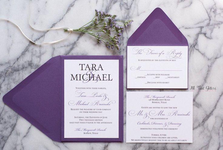 Purple wedding invitation suite | plum wedding invitations | violet wedding invitations with RSVP | Amethyst wedding invitations | Tara