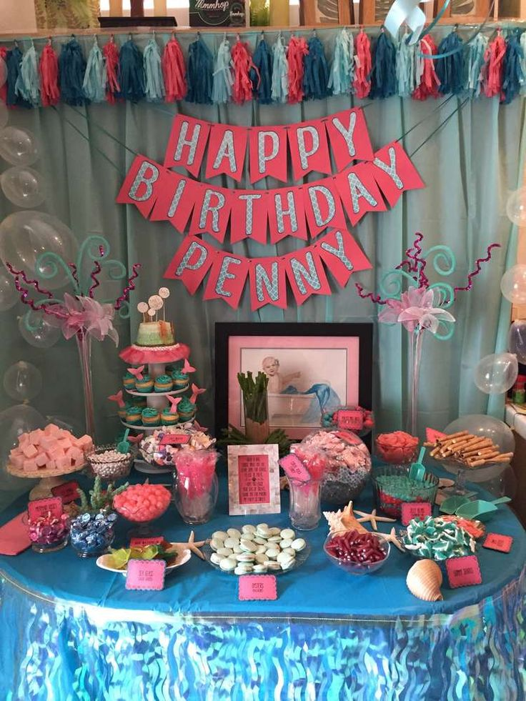 Amazing dessert table at a mermaid birthday party! See more party ideas at CatchMyParty.com!