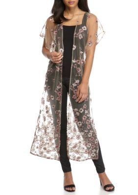 Living Doll Girls' Sheer Floral Applique Duster - Blush - Xs