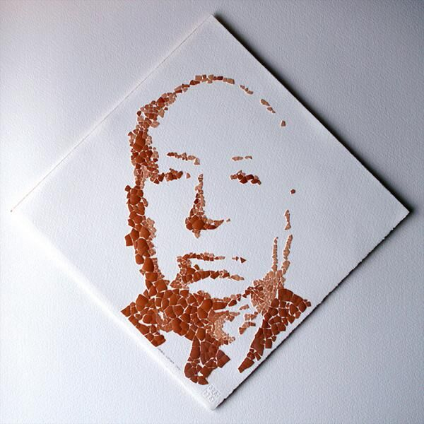 #Egg #Shells #Art #Portrait of Alfred #Hitchcock by artist Woodie Wright (@Wooodie).