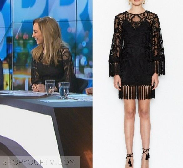 The Project: May 2017 Carrie's Black Lace Dress   Shop Your TV Carrie Bickmore wears this black fringed lace dress in this episode of The Project on May 8th 2017.  It is the Alice McCall Rhiannon Dress.