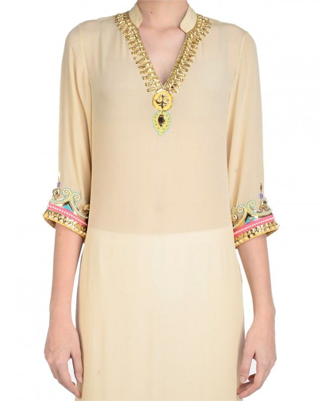 Cream Long Tunic with Hand Embroidered Yoke - Manish Arora - Designers