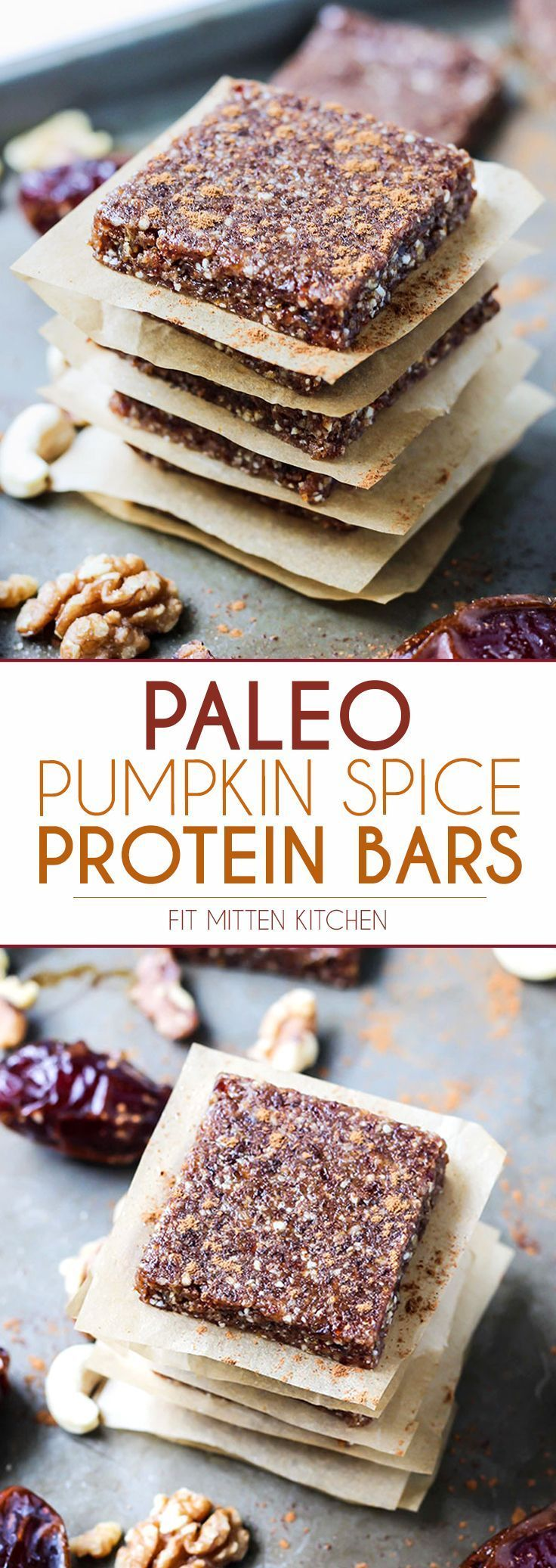 Simple bars FTW! | Pumpkin Spice Paleo Protein Bars use a simple blend of dates, nuts, and loads of pumpkin pie spice and cinnamon for extra flavor. Using collagen for protein plus added health benefits!