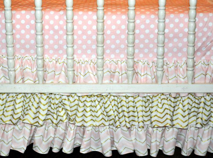 Crib Bedding - Pink and Gold Glitz Ruffle Crib Bedding Set, Nursery Bedding Set by PreciousnProsper on Etsy