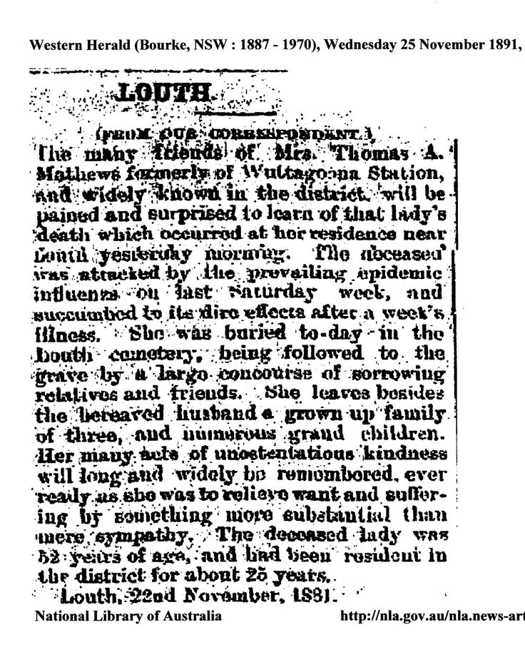 Death Notice of Mrs Susan Mathews nee Raey, 3rd wife of Tom ( King of Louth.). Mother of Annie who married Tom`s son Paddy Mathews. From Western Herald, Bourke, 25 November 1891.