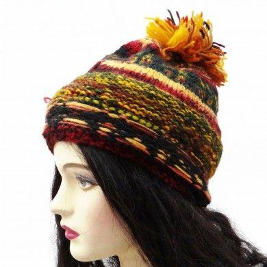 Woolen Cap Hand Knitted Black Stylish Indian Hat Women Winter Wear Accessory