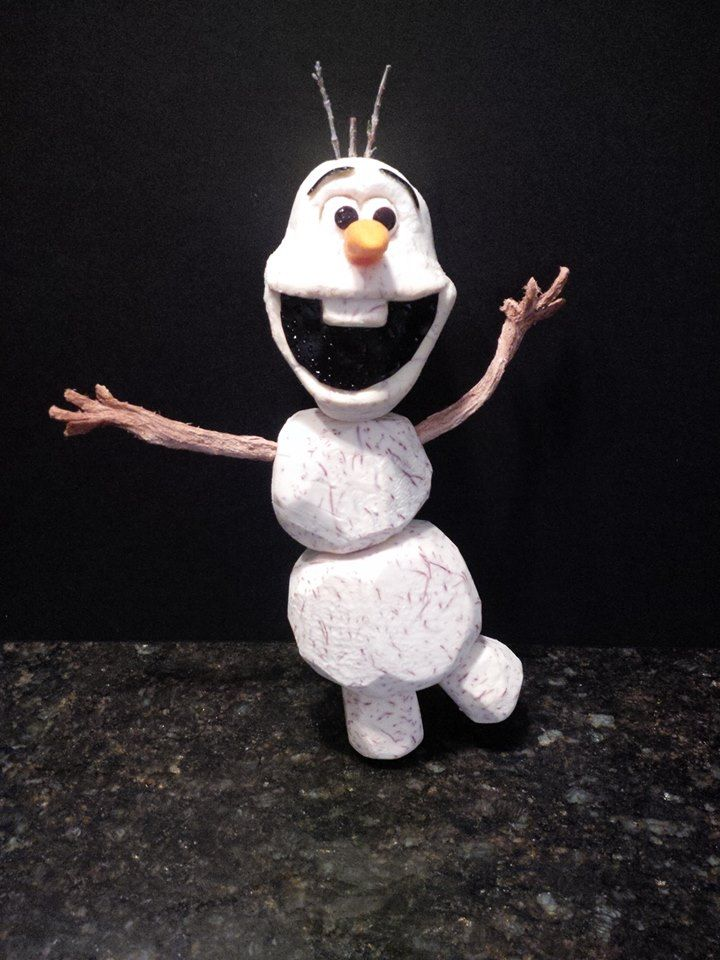Olaf from Frozen carved out of Taro Root, Arrowroot, Squash, Eggplant. #frozen, #olaf