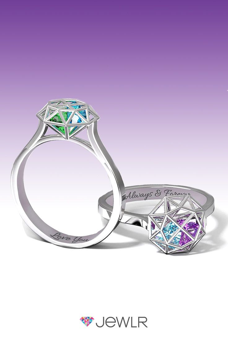 The unique Diamond Cage Ring is the perfect ring for couples, mothers, families and friends. Personalize in your choice of silver, white, yellow or rose gold and fill the cage with sparkling heart birthstones to represent your loved ones. Add a custom engraving for an extra special touch. With free shipping, free resizing, free gift packaging and a bonus gift, Jewlr is the perfect place to design your dream ring.