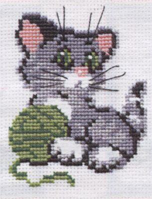 Kitten with Wool Cross Stitch Kit By Riolis