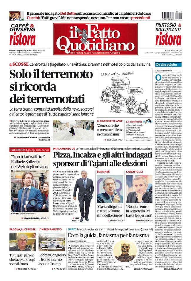 Il Fatto Quotidiano Prima Pagina di Oggi 19 Gennaio 2017