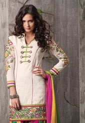 Item code: KWM2359 - Cream Readymade Cotton Salwar Kameez With Dupatta. This Readymade cream cotton salwar is adorned with flower print, resham, stone and patch work. Contrasting multicolor cotton salwar and dupatta comes along with it. Slight variation in color and patch patti is possible. US$ 117. To shop now, click on http://www.utsavfashion.com/store/sarees-large.aspx?icode=KWM2359