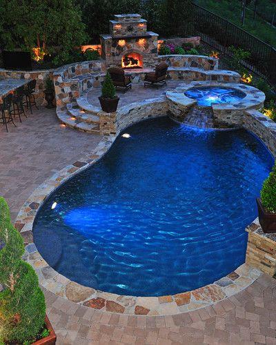 Traditional Pool with Fireplace - traditional - pool - orange county - Fluid Dynamics Pool and Spa Inc.