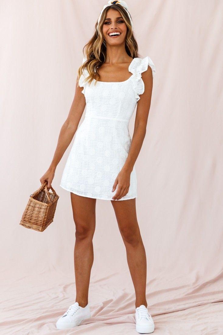 Annie Ruffle Shoulder Strap Mini Dress White White Dress Short Casual White Short Dress Casual White Dress