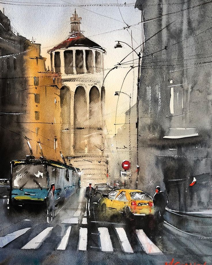 watercolor city life