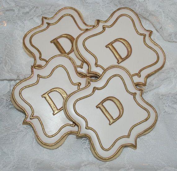 White and Gold Fancy Plaque Monogram Cookies - One Dozen Decorated Wedding Cookies via Etsy