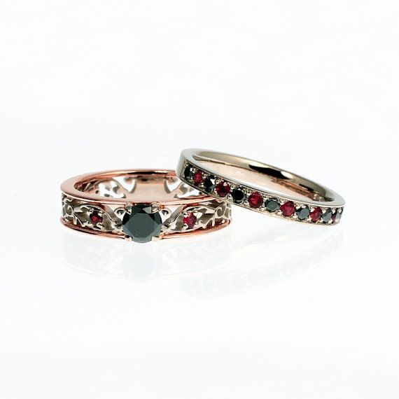 Filigree engagement ring set with black diamonds and red sapphires by TorkkeliJewellery, $3395.00