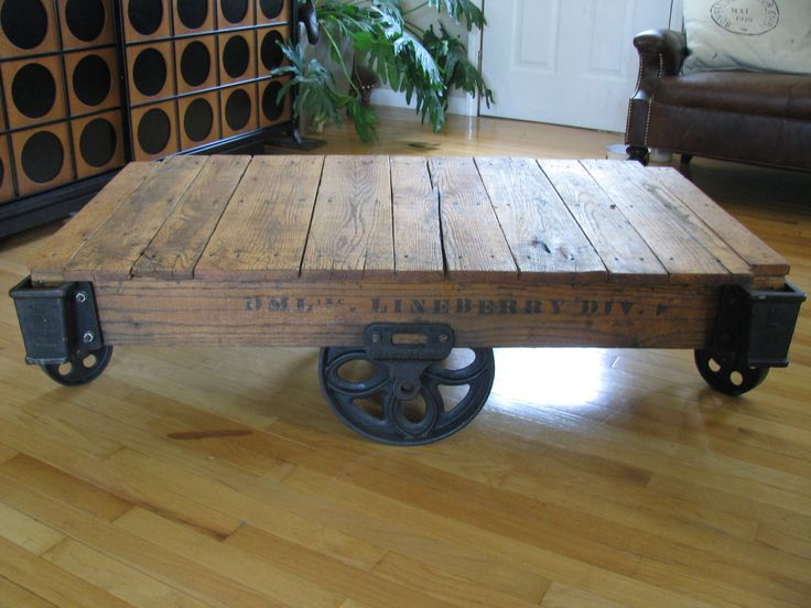 Industrial/Railroad Cart Coffee Table. $650.00, via Etsy. | Industrial  Revolution | Pinterest | Antiques, Etsy and … - Antique Refurbished DML Inc. Linebery Div. Industrial/Railroad