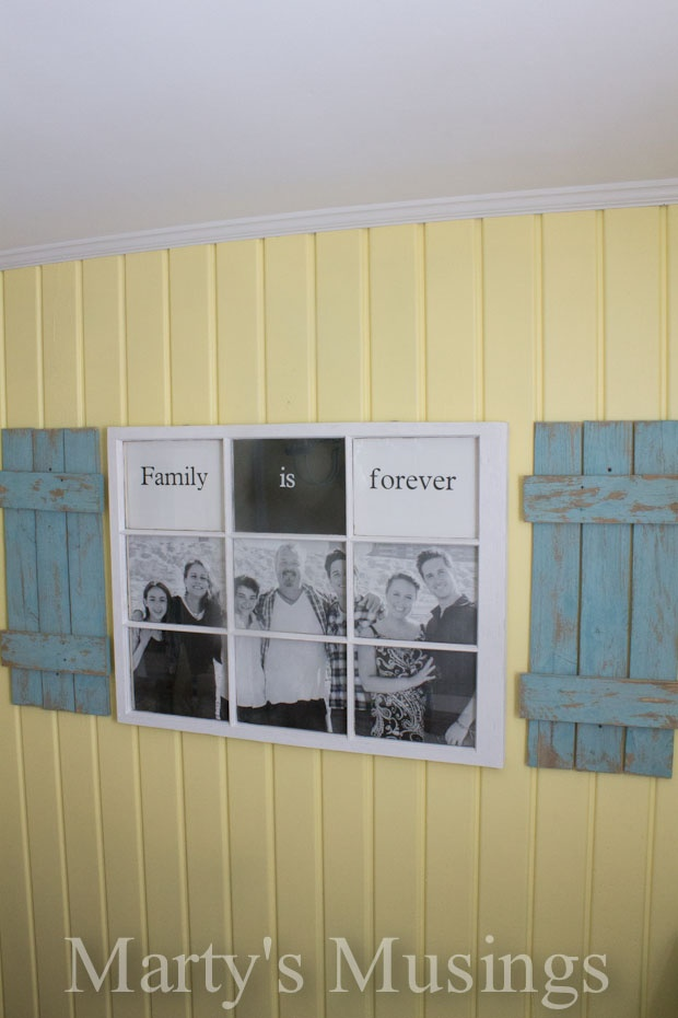 Old fence boards and an old window turn into an Old Window Photo Frame from Martys Musings
