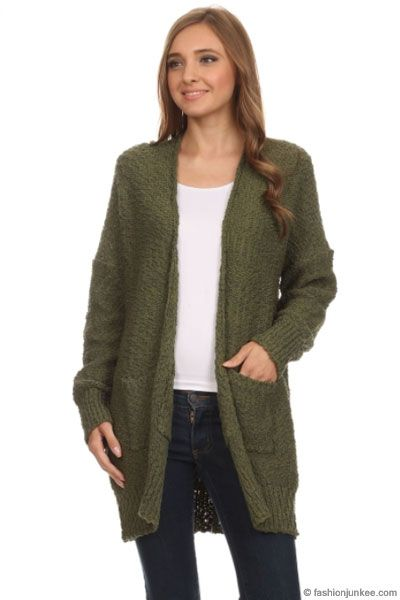 Long Sleeve Knit Open Front Cardigan Sweater with Pockets-Olive Green