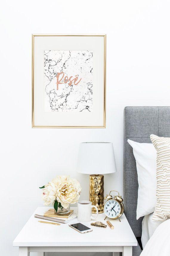 Rose - Printable feminine art, typography printable, Rose print, Fashion Posters, Trending now, Marble art, Gallery wall decor Rose Gold Art