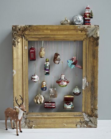 vintage christmas ornament display. kind of a cool idea if you have the ornaments
