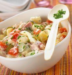 Ensalada fria con papas, jamon y tomate | Recetas de Cocina faciles.
