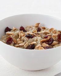 Overnight Oatmeal with Almonds and Dried Cranberries - you can make this one ahead of time and keep it in the fridge to reheat