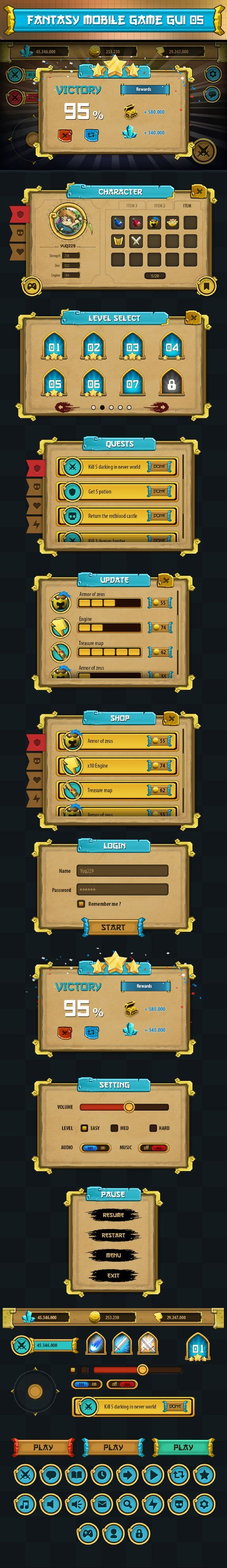 game gui pack 05 by Ryan Do, via Behance: