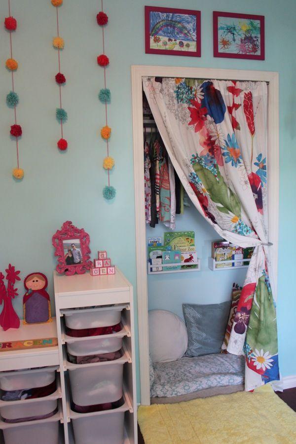 Nursery Closet: Storage Space Turned Cozy Book Nook
