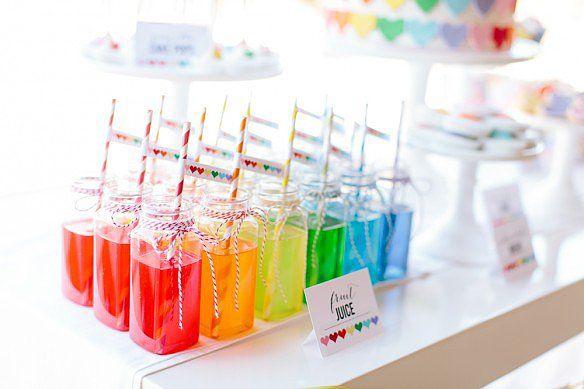 Rainbow Drinks | A Sweet Rainbow-Heart Birthday Party | POPSUGAR Moms